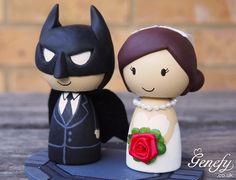 Cute+BATMAN+and+bride+superhero+wedding+cake+by+GenefyPlayground,+£88.00