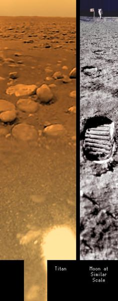 This composite view of Titan's surface is built with images taken on 14 January 2005 by the Descent Imager/Spectral Radiometer (DISR) on board ESA's Huygens mission, after touch-down. The composite is compared with a similarly scaled picture taken on the Moon's surface. Objects near the centre of the picture are roughly the size of a man's foot, while objects at the horizon are a fraction of a man's height.