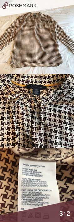 Tommy Hilfiger Blouse Size Large. Tommy Hilfiger. Brown and cream houndstooth print. Tie at neck with small keyhole detail. Worn twice- excellent condition. Tommy Hilfiger Tops Blouses