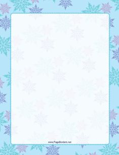 This Multicolor on Blue Snowflake Border includes blue, pink, and purple snowflakes. Free to download and print.