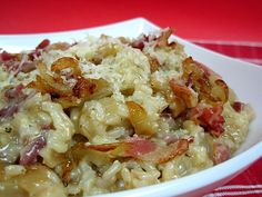 risotto with bacon, caramelized onion, and parmesan.
