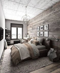 Rustic Master Bedroom Inspiration Ideas This is a bold master bedroom that focuses on modern decor but focuses on keeping a rustic theme of colors. The post Rustic Master Bedroom Inspiration Ideas appeared first on Design Diy. Rustic Bedroom Design, Farmhouse Master Bedroom, Master Bedroom Design, Home Decor Bedroom, Bedroom Designs, Bedroom Furniture, Furniture Sets, Master Bedrooms, Diy Bedroom