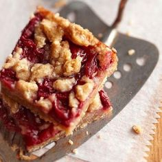 These Cherry Crumble Pie Bars will be the hit of your holiday potluck! See recipe: http://www.midwestliving.com//recipe/cherry-crumble-pie-bars-1/