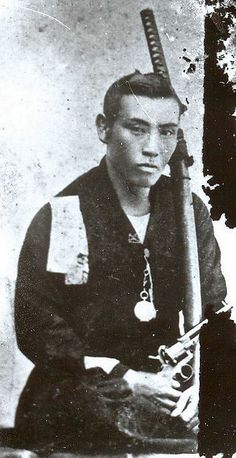 "mindcontrolexperiment: "" A Samurai posing with his katana and revolver, 19th century. """