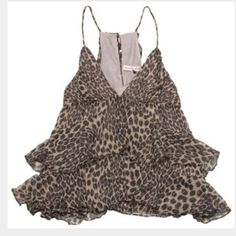 Rebecca Taylor - size 4 - gold leopard skin top Rebecca Taylor - size 4 - gold leopard skin ruffled tank top. Worn once. Perfect condition. Has a button in the back Rebecca Taylor Tops Tank Tops