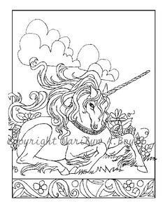 coloring colouring printable adult advanced detailed DIGITAL COLORING Page or Poster of UNICORN by OriginalSandMore