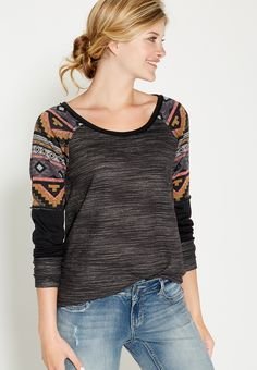 pullover with ethnic sleeves - #maurices