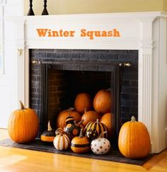 Fireplace decoration idea for Halloween.I have a fireplace hmm Unused Fireplace, Halloween Fireplace, Fall Fireplace, Halloween Pumpkins, Halloween Decorations, Fireplace Decorations, Pumpkin Decorations, Pumpkin Ideas, Fireplace Brick