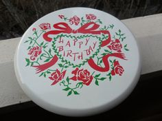 Vintage 1950s White Happy Birthday Rotating Cake Stand