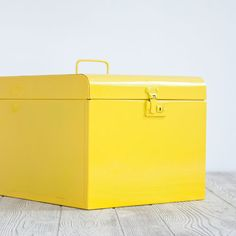 Vintage File Box Large Yellow | Fab