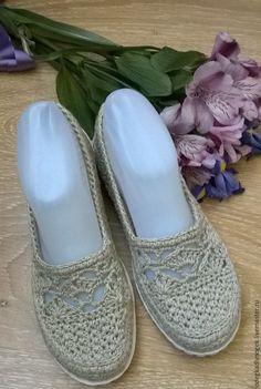 Купить Льняная нежность - бежевый, обувь для улицы, обувь ручной работы, вязаная обувь
