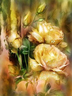 Raindrops On Yellow Roses Print by Carol Cavalaris