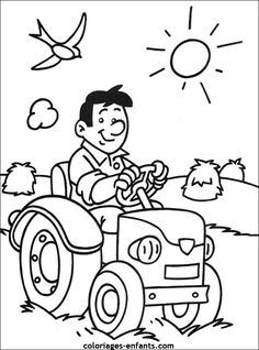 coloriages de tracteur Farm Coloring Pages, Disney Coloring Pages, Coloring Sheets, Coloring Books, Hand Embroidery, Machine Embroidery, Learn To Sketch, Animal Crafts For Kids, It's Your Birthday