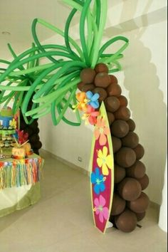 Balloon palm tree surfboard