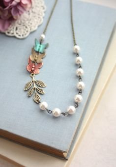 Flying Butterflies NecklaceTeal Blue Green Red Brass by Marolsha