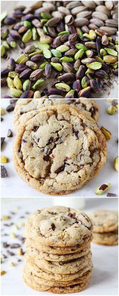 Dark Chocolate Chunk, Pistachio, and Sea Salt Cookies on twopeasandtheirpod.com LOVE these cookies!