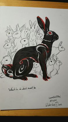 """ Black Rabbit of Inlé from Watership Down for Inktober nr. 7 c: I alwsys loved the mythology and stories of the rabbits "" Bunny Tattoos, Rabbit Tattoos, Watership Down, Rabbit Drawing, Rabbit Art, Animal Drawings, Art Drawings, Plague Dogs, Rabbit Illustration"