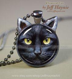 Black Cat pendant // Halloween necklace resin by JeffHaynieArt, $18.00