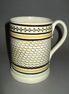 Staffordshire, England,     Date:1815-1825   Materials:Earthenware (dipped ware); Lead glaze   Techniques:Thrown, Moulded, Extruded, Rouletted (coggled), Slip decorated, Inlaid, Trailed
