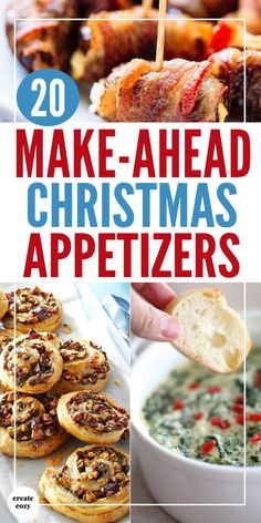 Yummy Christmas appetizer ideas and recipes for the holidays with snacks treats dips pigs in blankets pinwheels cheeseballs Christmas crostini and more in time saving and make ahead recipes that will also save on grocery bills and shopping! Make Ahead Christmas Appetizers, Christmas Party Food, Thanksgiving Appetizers, Christmas Cooking, Appetizers For Party, Appetizer Recipes, Appetizer Ideas, Christmas Treats, Dinner Recipes
