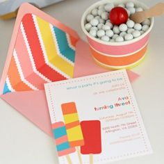Popsicle Party Invitation Set with Lined Envelopes