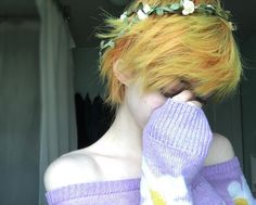 . Flower prince My hair is getting weird bits of green in it agh