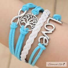 Armband Lebensbaum  Aqua LOVE weiß / türkis...