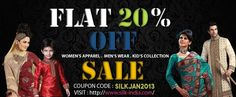 Limited Time Offer Get Flat 20% Off on all products Use Code : SILKJAN2013 20 Off, Menswear, Coding, India, Flats, Silk, Clothes For Women, Products, Toe Shoes