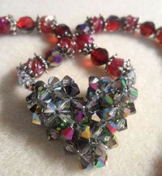 "Alicia Sova - ""Crystal Diamond Heart with Ruby Necklace"""