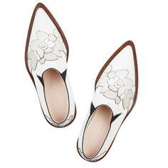 Victoria Beckham Floral-appliquéd leather point-toe flats