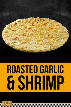 This pizza is a nice break from meat. Garlic Shrimp, Roasted Garlic, Pizza Holiday, Shrimp Pizza, Pizza Special, Cheers, Meat, Yellow, Nice