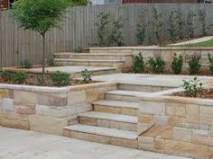 Generous steps add to a typical South London garden Corner Landscaping, Landscaping Around Deck, Front Yard Landscaping, Outside Stairs, Outdoor Stairs, Concrete Front Steps, Concrete Patio, Garden Stairs, Terrace Garden