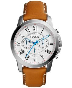 Fossil Men's Chronograph Grant Tan Leather Strap Watch 44mm FS5060