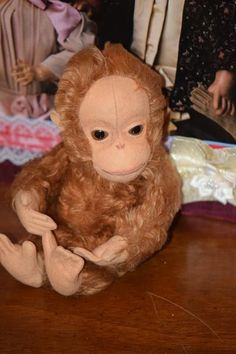 Old Monkey Cloth Doll Toy Yes No Monkey Mohair Cutest Expression