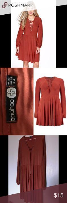 Boohoo Plus Size Tied Up Dress Plus Eden Tie Up Detail Skater Dress Boohoo Plus Dresses Long Sleeve