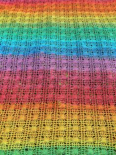 Rainbow Crochet Spiderweb Cotton Blanket With Turquoise Border
