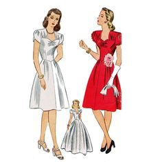 1940s Evening Dress Simplicity 4986 Vintage Sewing Pattern UNCUT Bust 34 Sweetheart Neckline Wedding Gown Party Dress Sewing Pattern via Etsy