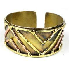 Brass on Brass Geometric Cuff - Brass Images (C)