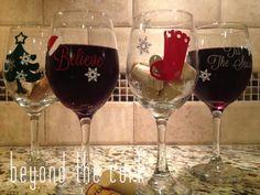 Set of 4 : 'Tis the Season Snowflake, Believe Santa, Stocking and Christmas Tree Christmas Wine Glasses