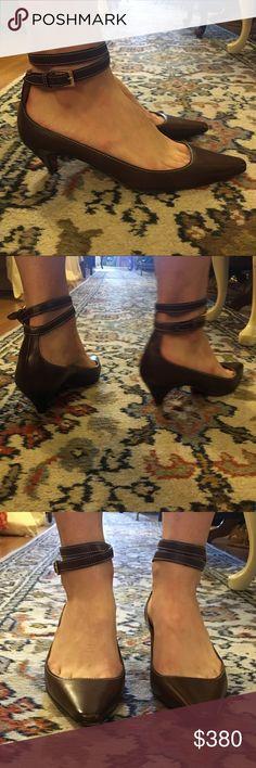 Christian Louboutin Ankle Wrap Kitten Heels Smart, brown leather ankle-wrap kitten heels by Christian Louboutin. Very comfortable! In great condition. Christian Louboutin Shoes Heels