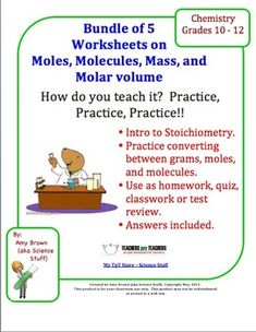 Free Mole Practice Worksheet: Converting between mass, moles, and ...