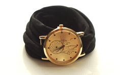 BLACK Round Dreamcatcher Wrap Watch Bracelet Stretch Wrist Watch Fashion accessory Women Teens Wrist Tattoo Cover by stunninglooks on Etsy