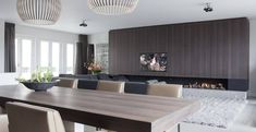 Bespoke cabinets with integrated fire place. Design of this penthouse in Amsterdam by Remy Meijers. Floors by Senso. Contemporary Interior, Modern Interior Design, Interior Architecture, Living Tv, Shelving Design, Luxury Penthouse, Fireplace Design, Living Room Designs, New York City