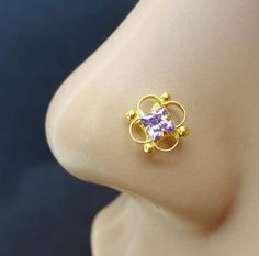 925 Sterling Silver Stud With Gold Plated Finish Gift For Mom Nose Piercing Jewelry, Gold Nose Stud, Indian Nose Ring, Handmade Jewelry, Unique Jewelry, Anniversary Rings, Gifts For Mom, Sapphire, Human Body