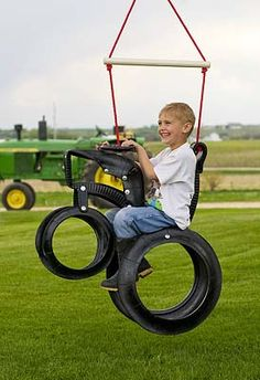 tire tractor swing....So perfect for a kids party