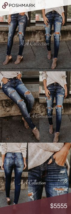 """distressed jeans denim skinny Jeans denim distressed skinny Dark wash. Frayed ankle. Super stretchy. super flattering skinnies. Run true to size. Inseam is (0-15)29""""-30"""" Rise is(0-15) 8""""-10"""" 98/2 cotton/spandex. Size tags are 0/23 1/24 3/25 5/26 7/27 9/28 11/29 13/30 15/31 Jeans Skinny"""