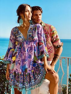 Ibiza Fashion, Dress First, Kimono Top, Cover Up, Fashion Outfits, Purple, Mini, Fabric, Trending Fashion