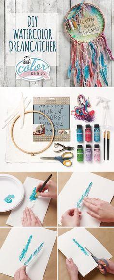 FolkArt Color Trend: DIY Watercolor Dreamcatcher