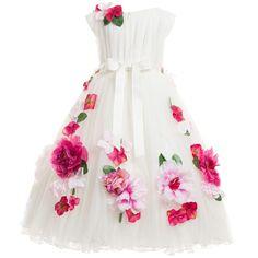 Lesy Luxury Flower - White Tulle Dress with Pink Flower Detail | Childrensalon