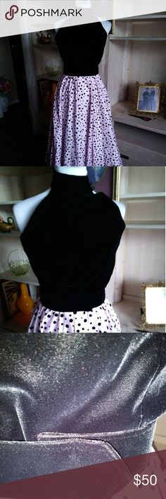50'S STYLE GOWN SIZE 4 NWOT ROCK TO THE 50'S IN THIS UPDATED POOFY DRESS... BLACK VELOUR TOP ADORNS THIS POOFY PINK POLKA DOTTED SKIRT...SO MUCH PRETTIER IN PERSON...GREAT FOR THEME PARTY HALLOWEEN PARTY HOMECOMING PROM...HAVE FUN...THAT'S WHAT THE 50'S WERE ALL ABOUT...9/11/17...WAS NEVER WORN.... A.J. Bari Dresses Maxi
